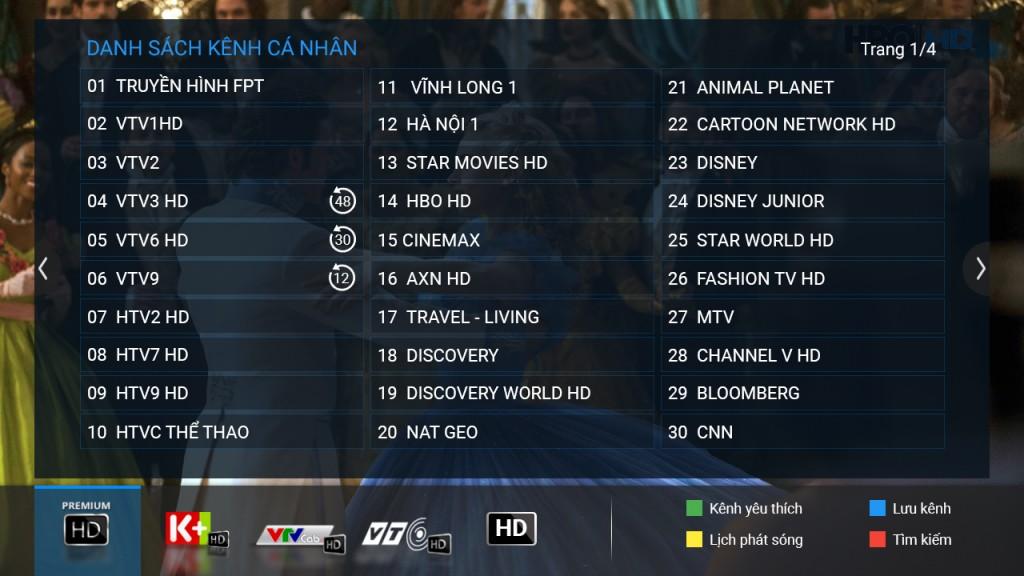 Danh sách kênh cá nhân truyền hình FPT